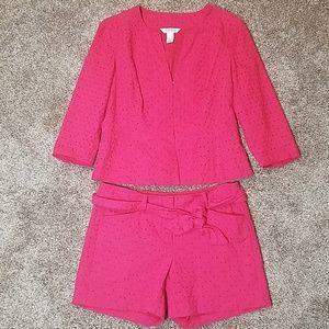 White House Black Market Fuchsia Jacket & Shorts